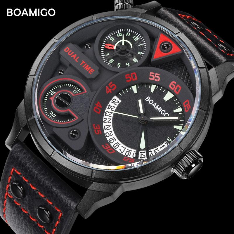 Fashion Dual Time Watch Men Sport Quartz Men's Watches BOAMIGO Big Wristwatches Leather Strap Waterproof Clock relogio masculino цена