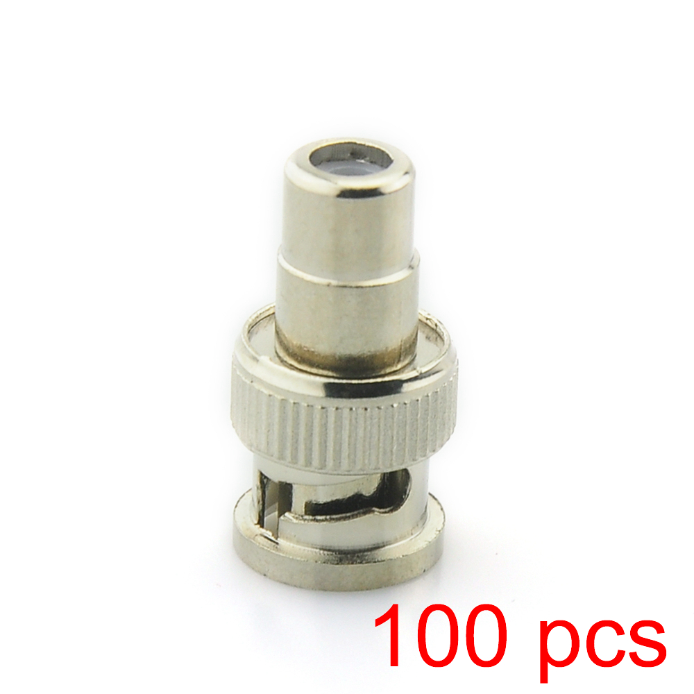 100x BNC Male To RCA Female Coax Cable Connector Adapter Coupler For CCTV Camera