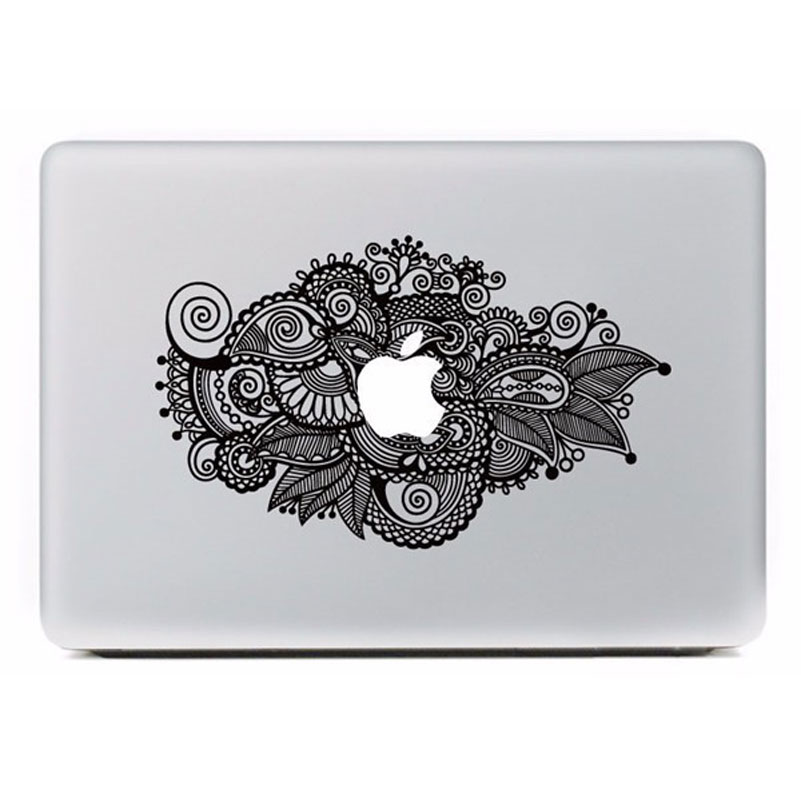 Black flowers leaves pattern stickers vinyl decal laptop skin case for apple macbook air 11 11 6 inch laptop case cover sticker in laptop skins from