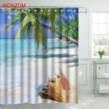 WONZOM Beach Coconut Tree Shower Curtain Fabric Bathroom Decor Decoration Cortina De Bano Polyester Shell Bath With Hook