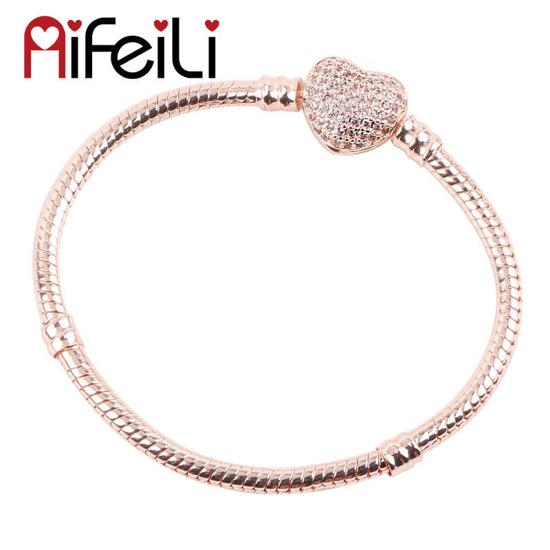 AIFEILI New Hot Silver Love Snake Chain Fit Original Women Bracelet Charm Bead Jewelry Gift For Men 15-21cm