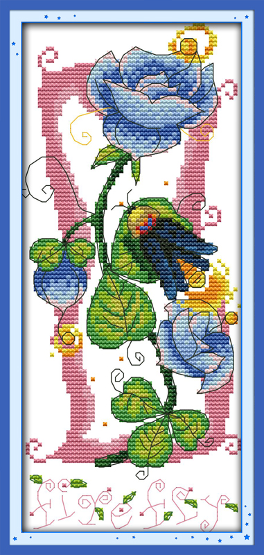 Sound of flowers (2)Cotton Animal cross stitch kits 14ct white 11ct printed embroidery DIY handmade needle work wall home decor