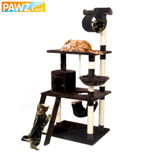 PAWZRoad Cat Furniture Cat Scratching Toy Wood Climbing Tree Cat Jumping Toy with Ladder Climbing Frame Scratching Post #0204