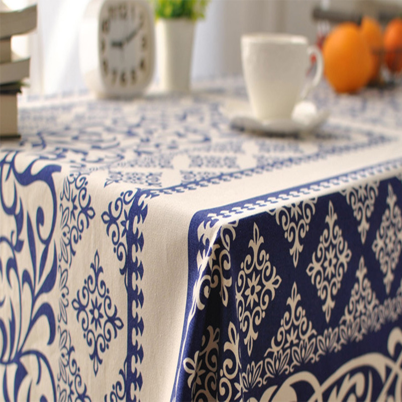 traditional rectangular table cloth dustproof blue white printed cotton linen tablecloth home party wedding table covers