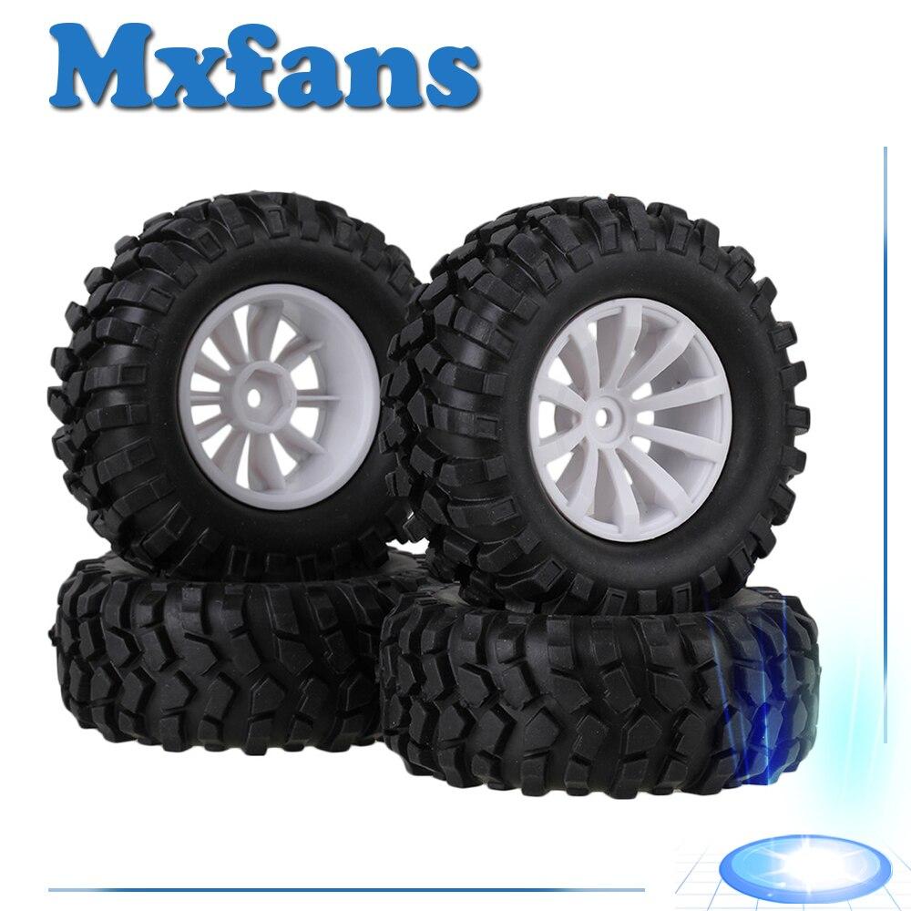 Mxfans 4 Sets Rubber Tyre Plastic 10 Spoke Wheel Rim for font b RC b font