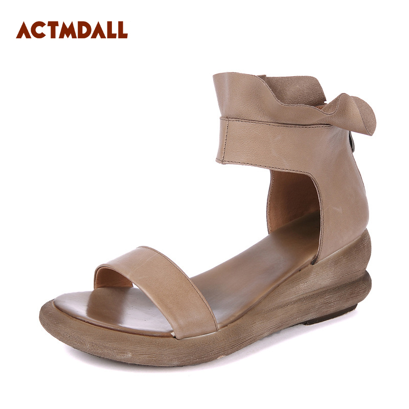 Здесь продается  2018 peep toe high heel gladiator sandals women wedges genuine leather summer Rome sandals cover heel thick bottom Actmdall  Обувь