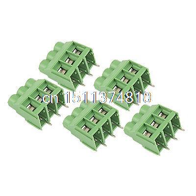 5 Pcs 30A 3 Pin Pluggable PCB Screw Terminal Block Connector