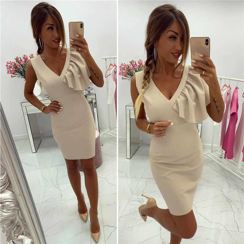 נשים Bodycon שמלת ראפלס דקור V-צוואר שרוולים מוצק צבע קיץ מיני שמלת משרד גבירותיי Slim שמלת ירך
