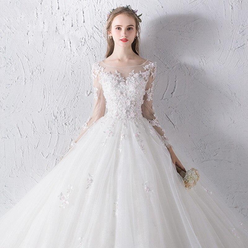Online Shop Angel Tree Top Design Full Sleeves A Line Wedding Dresses 3D Lace Appliques Up Back Princess Chapel Train Bridal Gowns
