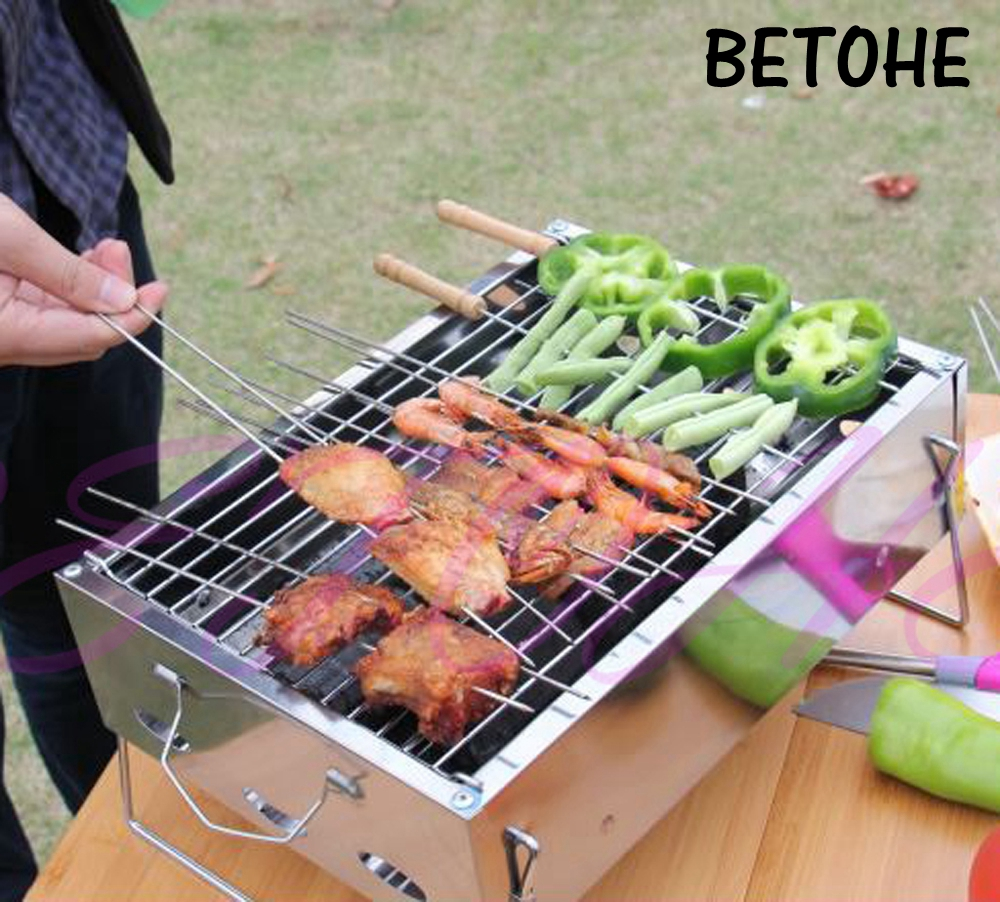 BETOHE 36*26*17cm Outdoor Stainless steel Hiking camping Charcoal Grill Picnic BBQ Grill for Barbecue & Sliver ...