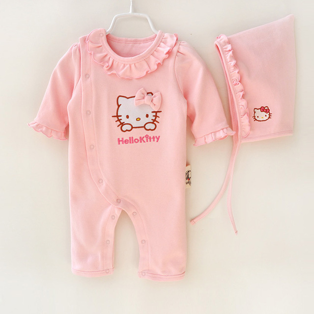 63cace055 2016 arrival brand Newborn Baby Clothes set Pure Cotton Quilted Jumpsuit +  hat Cartoon Animal Hello