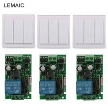 3CH Wall Panel Remote Transmitter 433MHz RF TX Remote Control Switch +220V 1CH Remote Control Relay Receiver Module Light Switch