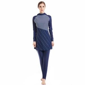 Image 5 - HAOFAN traje de baño musulmán para mujer, hiyab musulmán de talla grande, ropa de baño islámica, traje de baño de manga corta, ropa de Surf deportiva Burkinis