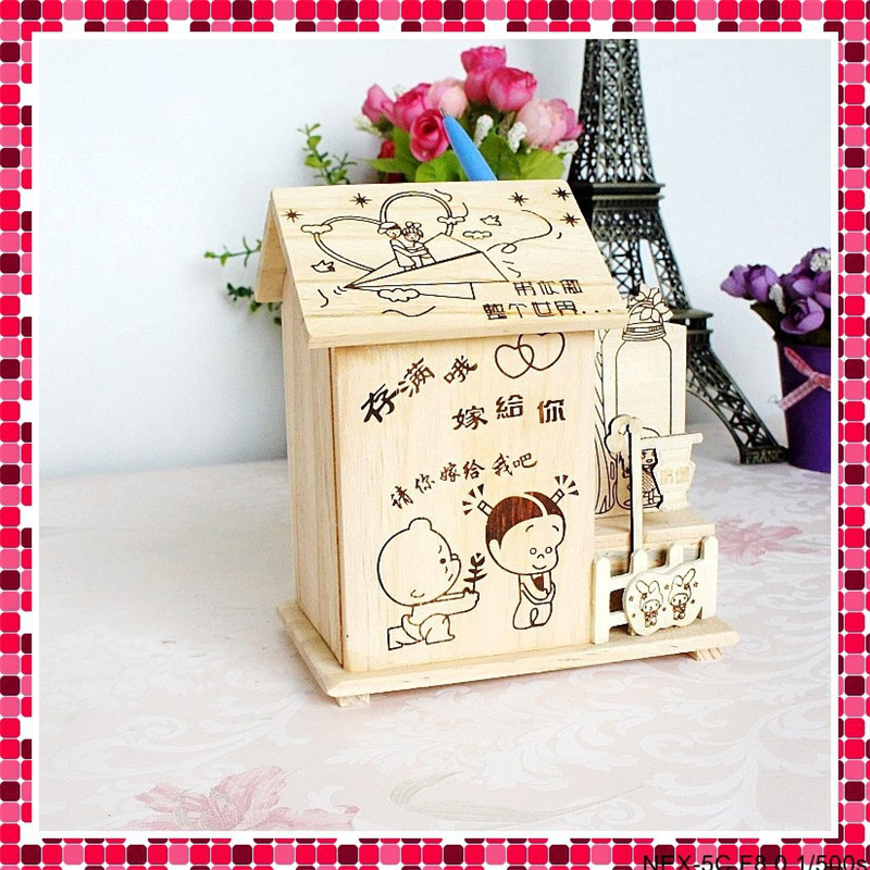 Diy wooden children money box house craft pen case model for Doing crafts at home for money