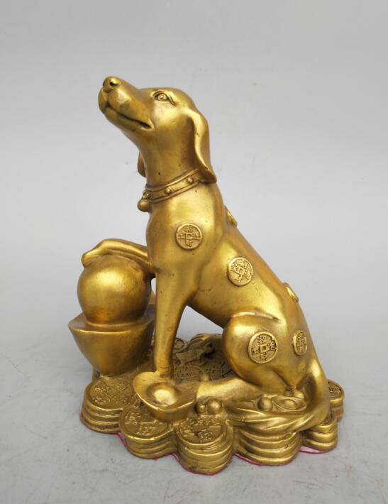 China's Seiko carving pure brass coin dog wealth statue Statues & Sculptures     - title=