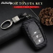 KUKAKEY Car Key Case Cover For Toyota Crown Camry Highlander RAV4 EZ Carbon Fiber Car Key Bag Shell Holder car tpu key holder cover case shell chain for toyota camry corolla c hr chr prado 2018 key protection