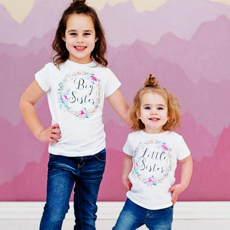 New Floral Printing Big Sister T-shirt Litter Sister Romper Clothes Sister Short Sleeve Tops