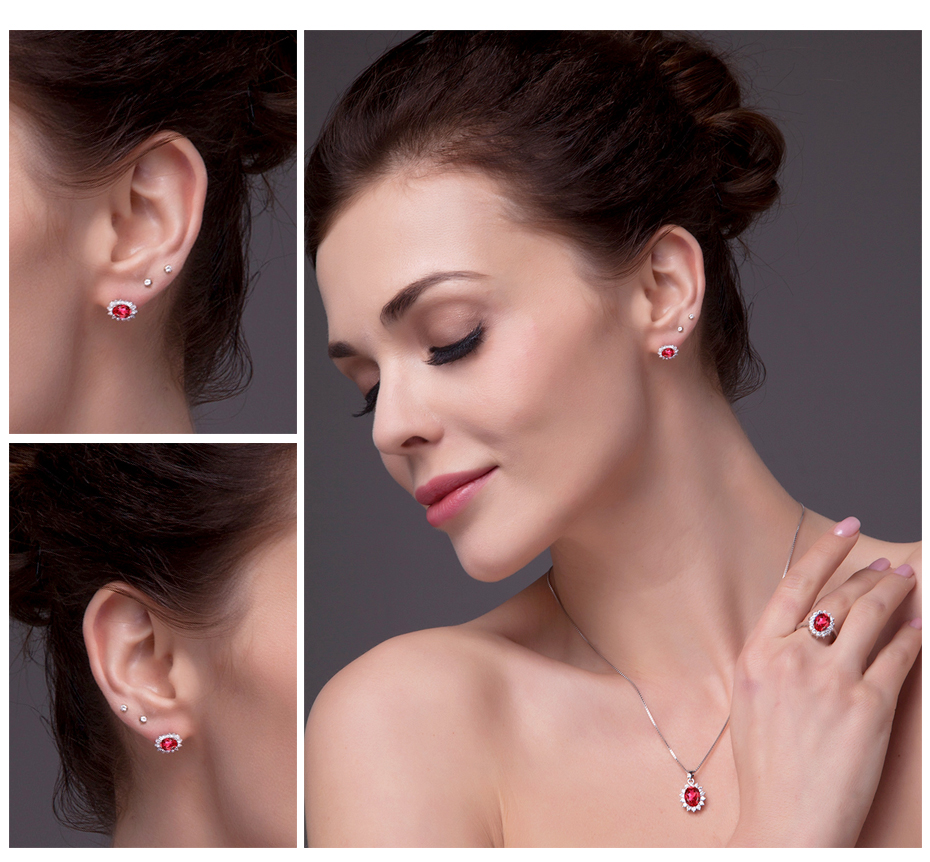 Jewelrypalace Princess Diana William Kate Middleton's 15ct Created Red  Ruby Stud Earrings 925 Sterling Silver