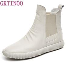 Bottines en cuir véritable pour femme, bottines dhiver, Vintage, Design de marque, rétro, fait à la main, chaussures décontractées