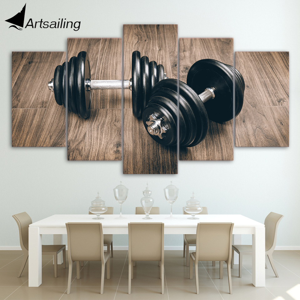 HD Printed 5 Piece Canvas Art Fitness Gym Sports Painting Dumbbells Wall Pictures for Living Room Modern Free Shipping NY-6956B