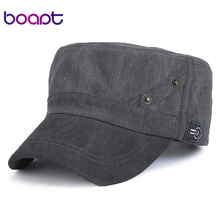 [boapt] new vintage solid cotton summer casual female baseball cap for men flat top hat snapback brand caps hip hop sun hats