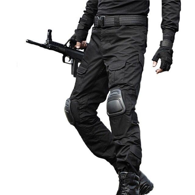 8694f240da6 Táctico pantalones de carga militar pantalones de hombres de la rodilla del  SWAT Airsoft ropa de camuflaje Hunter campo de combate pantalones,