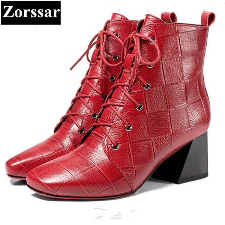{Zorssar} 2018 fashion women boots Genuine Leather lace up Square Toe High heels ankle Martin boots autumn winter women shoes 2018 new vintage mid calf women boots square thick high heels pointed toe martin boots genuine leather winter shoes for women