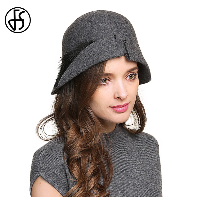 FS Elegant Wool Cloche Hats Feather Vintage Hat Ladies Felt Fedoras For Women Gray Black Winter Royal Cap Wide Brim Bowler Cap