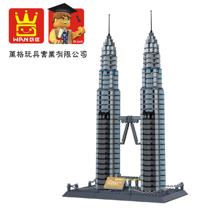 Free Shipping WanGe 8011 1160PCS Kuala Lumpur Petronas Towers Bricks blocks plastic Building block sets educational block toys