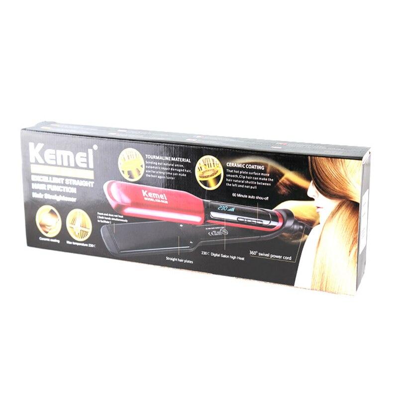 Купить с кэшбэком KEMEI LCD Display Flat Iron Digital Temperature Control Hair Straightener Hair Styler Ceramic Professional Hair Iron KM-9620
