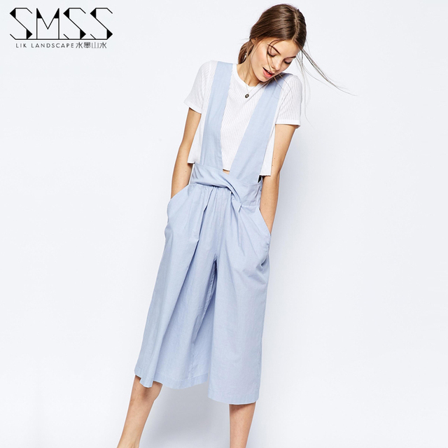 Summer 2016 Women Blue Strap Pockets Jumpsuits Female Fashion Casual Office High Waist Wide Leg Pants Cropped Trousers