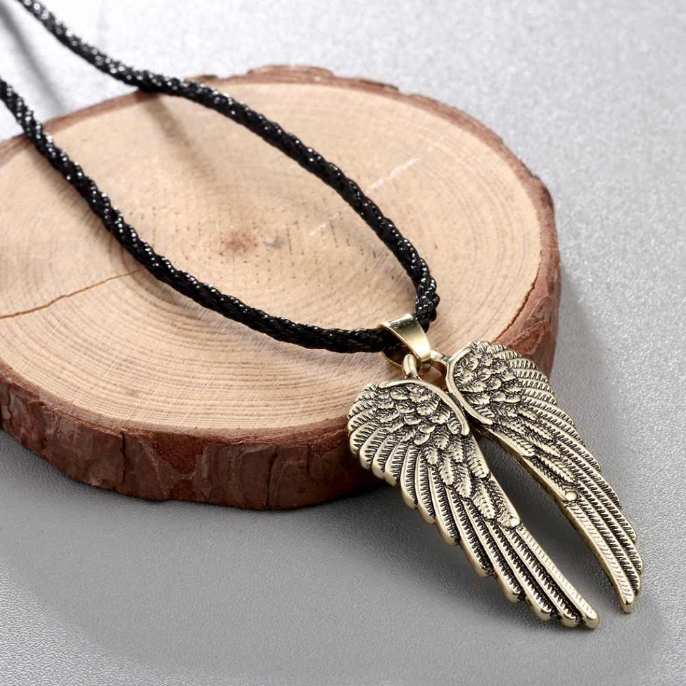 CHENGXUN Feather wisiorek anielskie skrzydło naszyjnik dla mężczyzn moda liny choker łańcuszek w stylu Vintage biżuteria mężczyzna chłopców biżuteria
