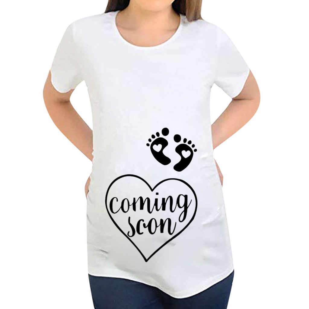 Pregnant Shirt Women Short Sleeve Maternity Letter Printing Cartoon Print Tops Camisa Para Embarazada Maternity T Shirt