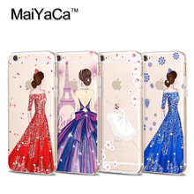 MaiYaCa Luxury Fashion Dress Girly Soft Transparent TPU Phone Case Accessories Cover For iPhone 4s 5s 6s 7 plus case