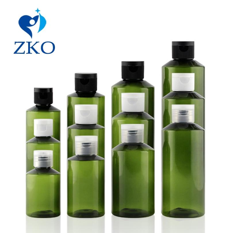 1 Pcs 50ml 100ml 150ml 200ml Green Sloping Shoulder Bottle With Flip Top Cap Travel Bottle Refillable Bottle