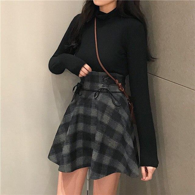 Herbst Mädchen Knited EINE Linie EINE Form Preppy kilts Taille Bondage Lolita Nette Kawayi Lolita Sweetie Plissee Röcke