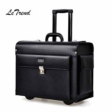купить Letrend Cow Genuine Leather Rolling Luggage Pilots/captains dedicated flight Trolley Cabin Suitcases Wheels Laptop Travel Bag онлайн