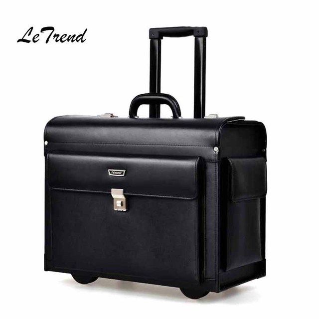 ebe8b5db2 Letrend Cow Genuine Leather Rolling Luggage Pilots/captains dedicated  flight Trolley Cabin Suitcases Wheels Laptop