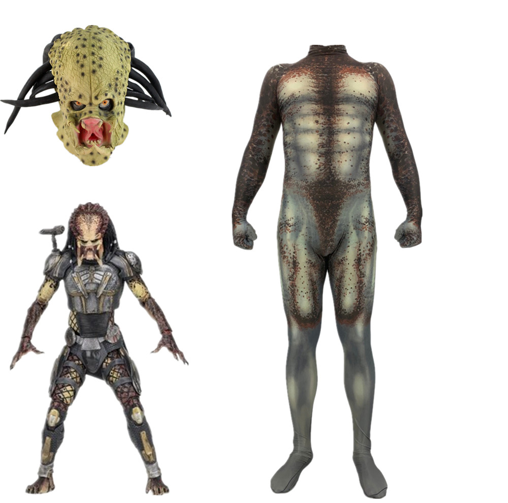 Cosplay Movie Alien Vs. Predator Costume 3D Print Predator Basic Suit Adult Kids Halloween Jumpsuits With Mask Bodysuit Suit