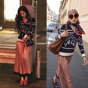 Star Yang Fang's New Blue V-neck Sweater of The Same Style of Women's Wear In 2019 Korean Loose Letter Knitted Sweater Women