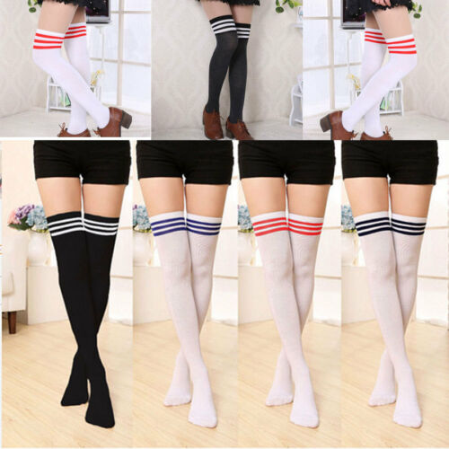 Women Cable Knit Long Stripe  Over Knee Thigh High School Girl Stocking