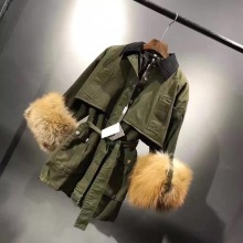 Newest Hot Sale MiuMiu Real Fox Fur Cuff Women Long Jacket Genuine Fox Fur Army Green Color Shell Lady Winter Popular Overcoat