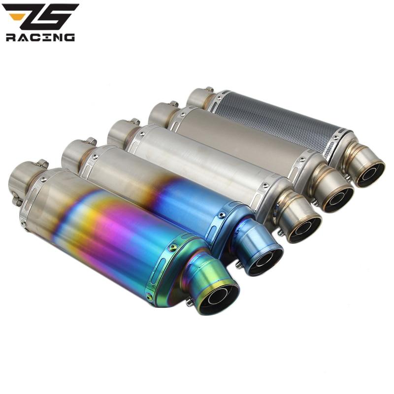 ZS Racing 51mm Akrapovic Motorcycle Exhaust Pipe With DB killer Escape Moto CBR125 CB400 TMAX530 YZF R1 R6 R15 GXSR Z750 Z800