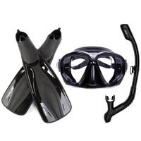 Professional Tempered Glass Diving Mask+Snorkels Scuba+Fins Set M XL Goggles Glasses Diving Swimming Fins Flippers Equipment