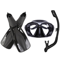Professional Tempered Glass Diving Mask+Snorkels Scuba+Fins Set M XL Goggles Glasses Diving Swimming Fins Flippers Equipment