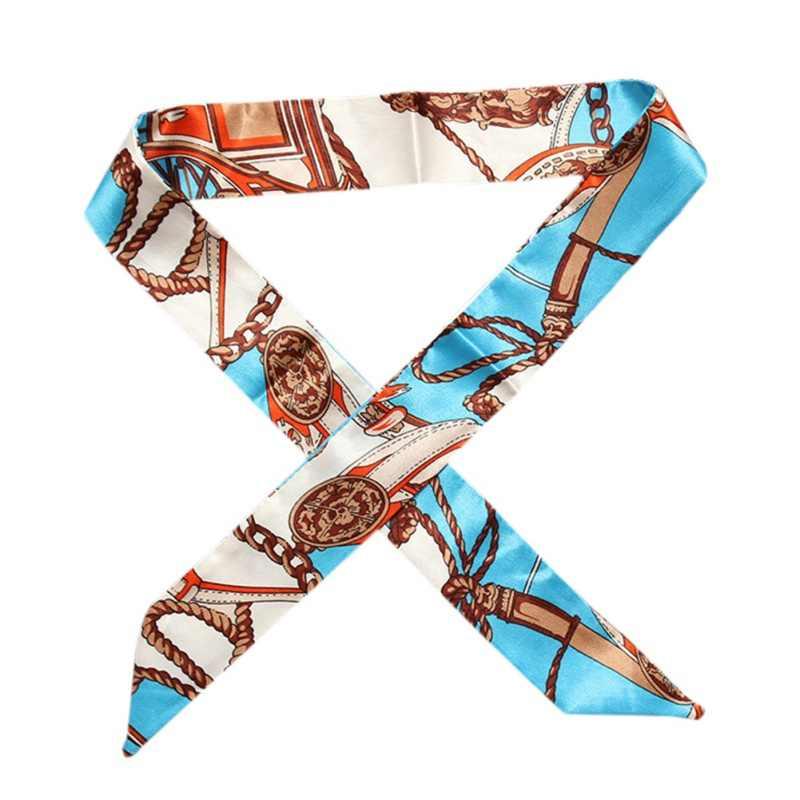 Femmes dames bandeau 100X4CM multifonction cravate décoration ruban écharpe sacs mode soie poignée cheveux main