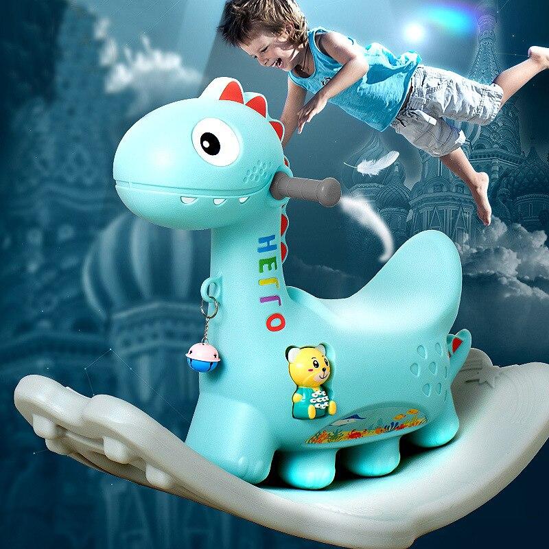 Mignon cheval à bascule en plastique Musical jeu d'intérieur enfants cheval de roche jouets éducatifs cadeau pour enfants bébé infantile enfants