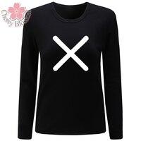 Cherry Blossom Women T Shirts Cotton T Shirt Long Sleeve O Neck TShirts Fork Wrong Mark