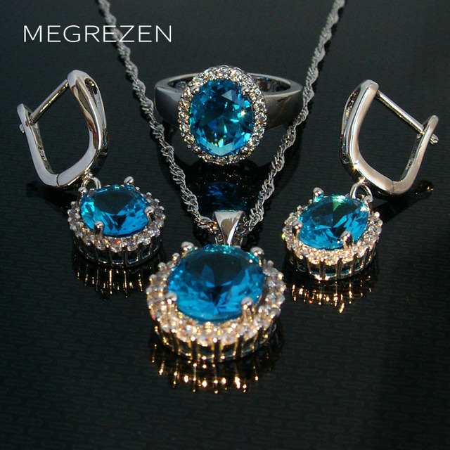 Silver Plated Cristal Jewelry Wholesale Set Blue Crystal Pendants Earrings Rings Jewlery Sets For Women Aretes Y Anillo Ys003-5