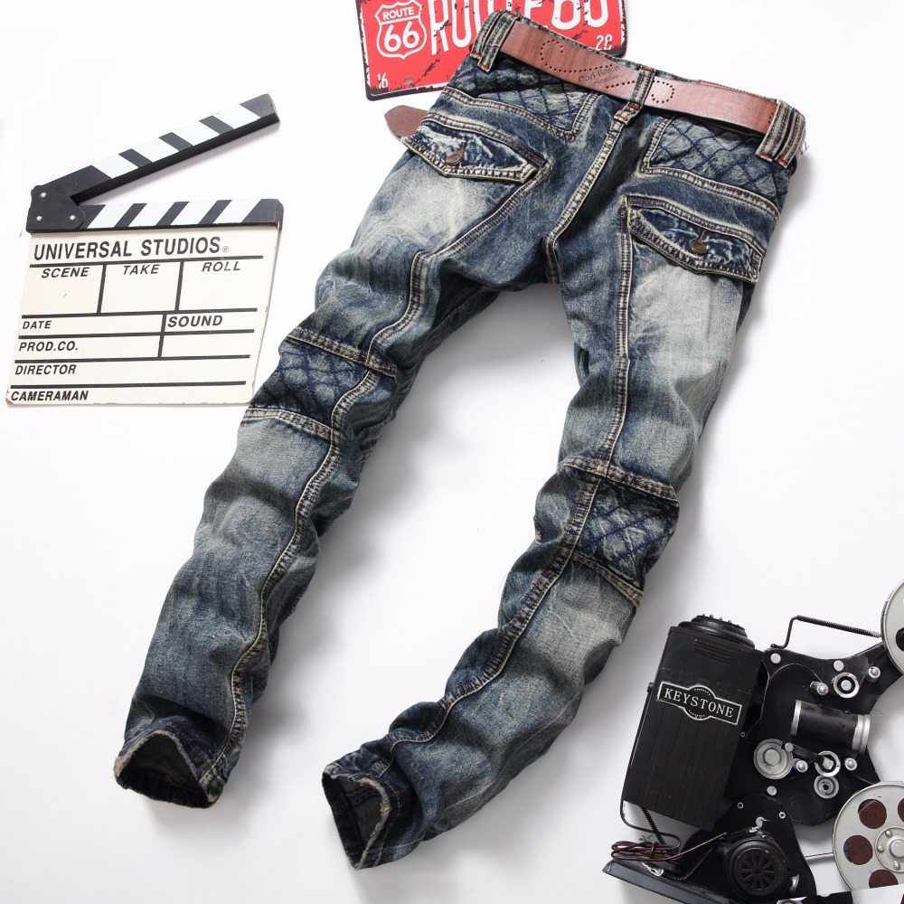 Dropshipping Retro Men Jeans Classic Biker Motorcycle Blue Jeans Slim Patch Ripped Denim Hip Hop Streetwear Rap Jeans Men
